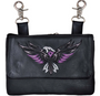 Ladies Leather Clip on Bag With Embroidered Phoenix Design With Choice Of Colors, Hot Pink, Teal, or Purple - SKU 2163-24-UN.