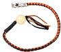 Get Back Whip in Black and Orange Leather With White Pool Ball - 42 Inches - SKU GBW9-WHITE-BALL-DL