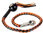 Get Back Whip in Black and Orange Leather With 8 Ball - 42 Inches - SKU GBW9-BALL8-DL