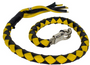 3 Inches Around - Get Back Whip in Black and Yellow Leather - 42 Inches - Motorcycle Accessories - SKU GBW8-11-T2-DL