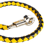 Get Back Whip in Black and Yellow Leather - With White Cue Ball - 42 Inches - Motorcycle Accessories - SKU GBW8-WHITE-BALL-DL