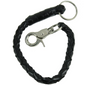 Key Chain - Get Back Whip Style  in Black  Leather - 14 Inches Long - SKU KC-GBW1-DL