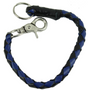 Key Chain - Get Back Whip Style  in Black and Blue Leather - 14 Inches Long - SKU KC-GBW2-DL