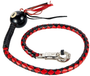 Get Back Whip - Black and Red Leather - With 8 Ball - 42 Inches - SKU GBW6-BALL8-DL