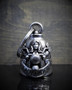 Motorcycle Lady Rider - Pewter - Motorcycle Gremlin Bell - Made In USA - SKU BB46-DS