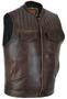 Men's Naked Distressed Brown Leather Motorcycle Club Vest - SKU MR-MV320-PD-18-DL