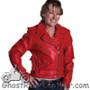 Ladies Classic Biker Red Leather Motorcycle Jacket - SKU AL2122-AL