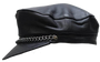 Leather Cap with Chain - Biker Leather Hat - SKU AC008-DL