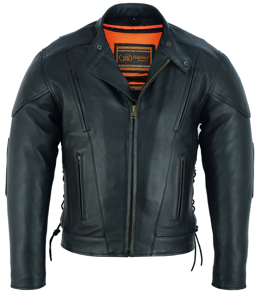 Men's Best Ventilated Leather Motorcycle Jacket With Side Laces