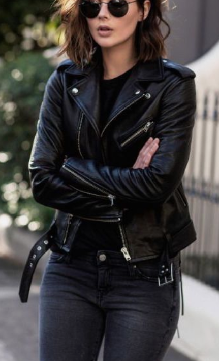 Black Biker Jacket With Jeans And T-Shirt And Sunglasses