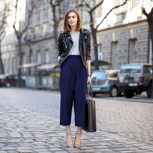 Women's Biker Jacket Paired With Officewear - How To Wear A Biker Jacket To The Office