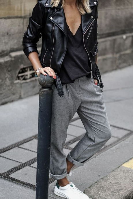 Ladies Leather Jacket With Casual Rolled Up Gray Pants