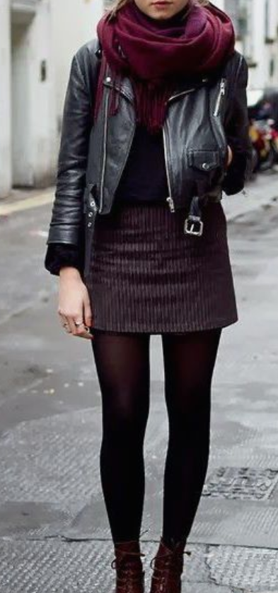 Pair Your Leather Biker Jacket With A Short Skirt, Stockings and Top.