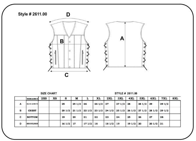 Size chart for men's gray leather motorcycle vest.