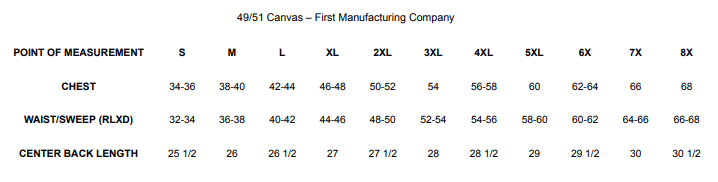 Size Chart for 49/51 Canvas (no collar) | Men's Motorcycle Vest - FIM4951CNV-N
