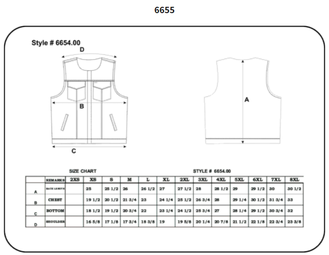 Size chart for men's leather motorcycle club vest.