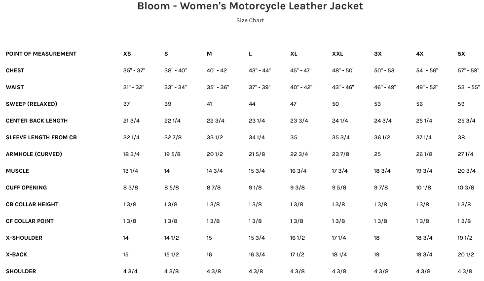 Size Chart for Bloom Women's Leather Motorcycle Jacket with Embroidered Roses