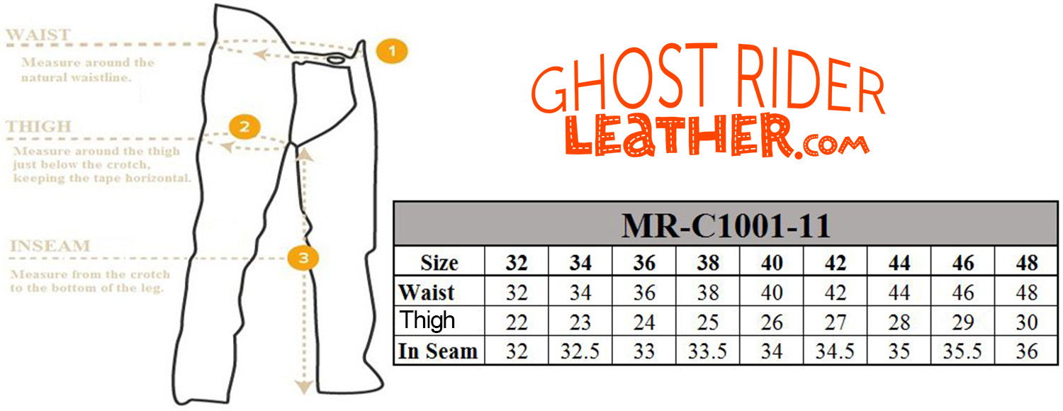 Size chart for men's leather motorcycle chap pants.