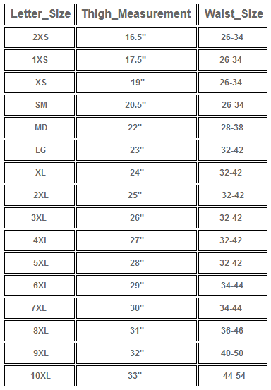 SIZE CHART FOR Ladies Low Rise Leather Chaps in Premium Naked Leather