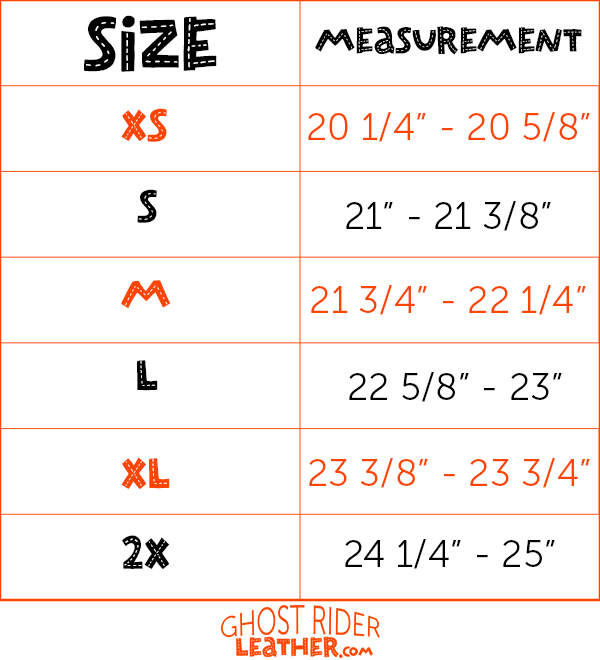 Size chart for DL motorcycle helmets.