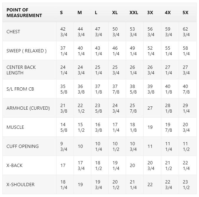 Size Chart for Gavin - Men's Black Leather Motorcycle Jacket - SKU WBM2812
