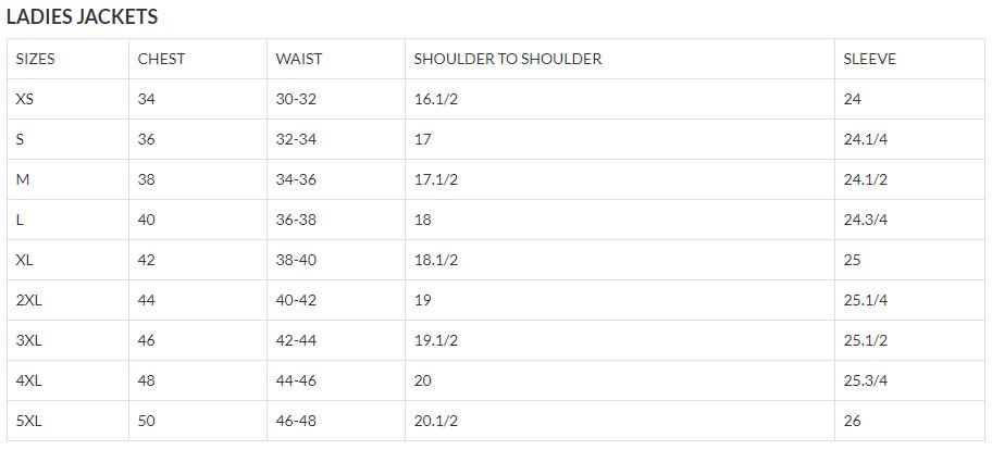 Size Chart for Ladies Classic Biker Leather Jacket - Split Cowhide - SKU AL2101-AL