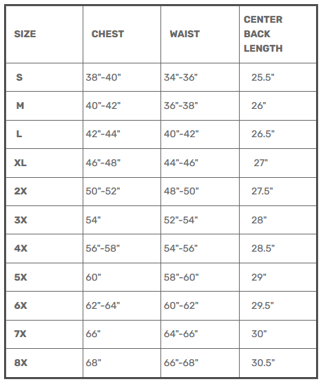 Size Chart for Gambler - Men's Leather Motorcycle Vest - Sizes Up To 8XL - SKU GRL-FIM618CFD-FM