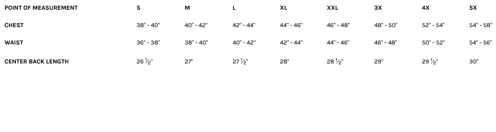 Size Chart for the Raider Men's Copper Leather Motorcycle Jacket