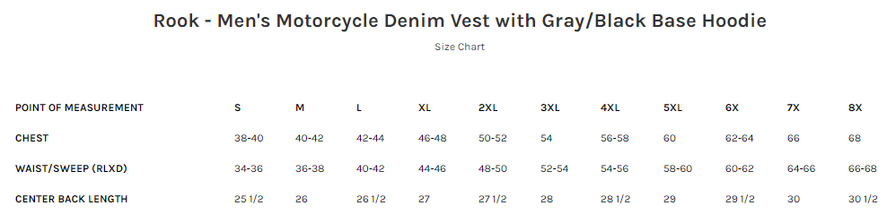 Size Chart for Rook - Men's Motorcycle Denim Vest with Gray/Black Base Hoodie