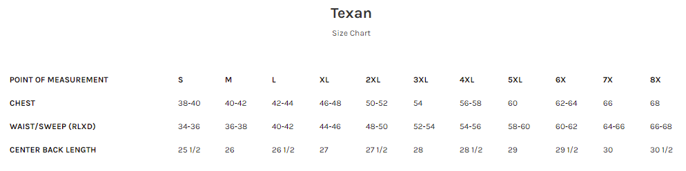 Size Chart for the Texan - Best Western Style Leather Motorcycle Vest in Brown or Black Leather.