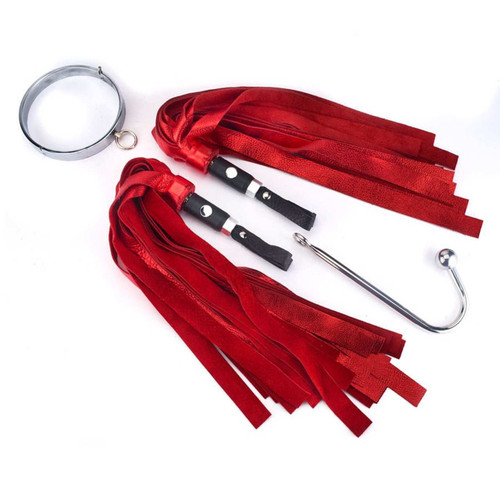 Where will your adventures take you? (Shown Red Metallic Floggers with NutSack Handles.)