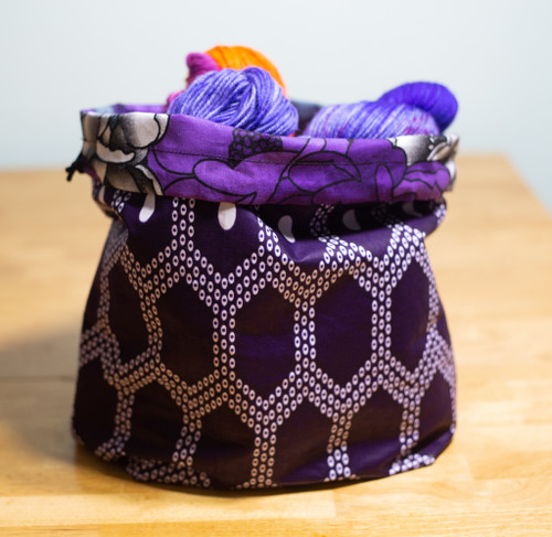 yarn&whiskey reversible drawstring project bag - dark purple and white geometric print - side a