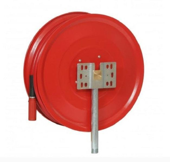 25mm Fixed manual hose reel c/w hose, nozzle & fittings back