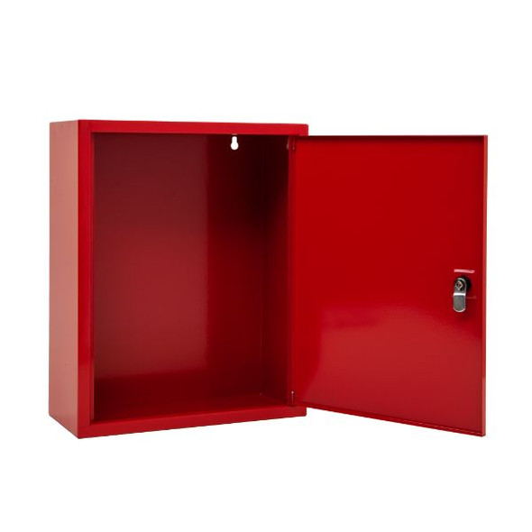 Red document cabinet with key lock