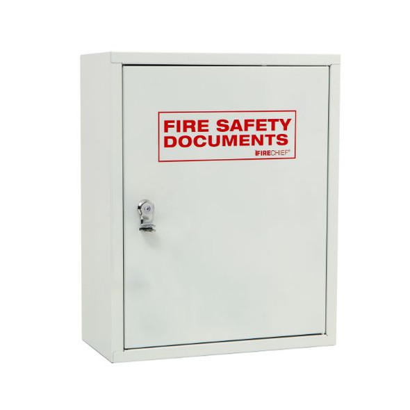 White document cabinet with seal latch
