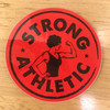 Strong Athletic Logo Sticker Red with Black Art.