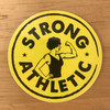 Strong Athletic Logo Sticker Yellow with Black Art.
