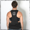 "This is the back of the Strong Athletic Skater Super Muscle Tank. Be proud of your body in this light and flowy muscle tank. We call this cut the ""super muscle tank"" because the arm holes are cut the deepest in regard to all the muscle tanks that we have.  This light-weight muscle tank has dropped arm holes that are wider than the average muscle tank, showing off the sides of your torso and your sports bra. This muscle tank comes down to the normal length, so it's not a crop top. This shirt is made by Strong Athletic the female owned clothing company that believes people need to be supported with in sports, especially those people on the fringe of sports who have been pushed out. People love this tank because the material moves with your body, making it perfect for working out. Strong Athletic was founded by a roller derby skater. Strong Athletic created the Strong Athletic Skater shirt because we wanted to give skaters in roller derby a bold shirt in which they could tell the world how strong they are."