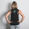 This is the back of the Strong Athletic Human Muscle Tank printed on Bella and Canvas black marble. The fabric is super soft and slinky. The teal/ sea foam ink is bold, just like the humans who wear this shirt.