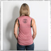 This is the back view of the Strong Athletic Woman Mauve with Black Writing Muscle Tank by Strong Athletic. The back of the tank has the Strong Athletic logo on it in bold black ink. This tank is great to exercise in, but it's also perfect to throw on with a pair of jeans.