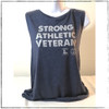 """This is the front of the Strong Athletic Veteran Muscle Tank. We made this shirt in collaboration with Strong Athletic and Roller Derby Battle Buddies. 22% of profits from this shirt is donated to Mission 22, an organization that supports Veterans of the US Military. This tank is true to sizing that is considered """"female cut"""". We print this design on the Bella Canvas 8803."""