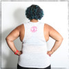 This is the back of the Strong Athletic Woman Flowy Muscle Tank that is printed on the Bella and Canvas flowy muscle tank 8803. The arm holes for this tank are cut a bit deeper than the average tank, so if you wear a garment underneath there is a good chance that it will be visible. #strongathletic #strongathleticwoman #athleticwoman #strongwoman