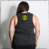 This is the back of the Strong Athletic Strong, Strong, Strong Flowy Muscle Tank. The Strong Athletic logo is in a bold yellow centered on the back between the shoulder blades. The image on the logo is of an athlete, flexing her muscles, showing to the world that being both a female and an athlete are synonymous.