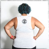 This is the back of our Strong, Strong, Strong muscle tank. The ink is black and the shirt color is a white-marble, which means that it is not solid white, rather a combo of white, grey and subtle blacks, which make it a nice blend for the eyes