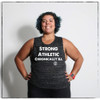 This is the front of the Strong Athletic Chronically Ill black muscle tank with white ink. We print this design on the Bella Canvas black marble Flowy Muscle Tank style number 8803. A portion of every shirt sold has been pre-donated to the National MS Society.