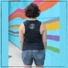 This is the back of the Strong Athletic Chronically Ill Flowy Muscle Tank. As you can see the Strong Athletic logo is in bold, white ink, on the back. The shoulders are exposed a bit, but not as much if it were a racerback. We print this design on the Bella Canvas black marble Flowy Muscle Tank style number 8803.  A portion of every shirt sold has been pre-donated to the National MS Society.