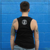 This is the back of the Strong Athletic Chronically Ill District Fitted Muscle Tank. As you can see the Strong Athletic logo is in bold, white ink, on the back. The shoulders are exposed a bit, but not as much if it were a racerback. $1 of every shirt sold has been pre-donated to the National MS Society. #strongathleticchronicallyill , #strongathletic , #spoonies , #chronicillness , #chronicallyill