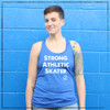 This is the front of the Strong Athletic Skater blue racerback with white ink. Strong Athletic initially created these tanks for derby skaters who wanted to proudly tell the world that they played roller derby. Over time, as skating became more popular again, other skaters started to wear these tanks. It makes Strong Athletic so stoked that there are people who street skate, who bowl skate, who play hockey, who jam ,skate who artistic skate and who just love skating in general in the world. We print this design on Bella Canvas 8430. Also, all Bella Canvas products are produced at a WRAP facility.