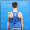 This is the back of the Strong Athletic Skater blue racerback tank. You can see our bad-ass logo in bold white ink. We print this design on Bella Canvas 8430. We love this style of tank because it's comfortable and we really love the racerback design. Also, all Bella Canvas products are produced at a WRAP facility.