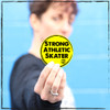 """This is the Strong Athletic Skater Sticker that comes with this 4-Pack. Regardless of if you're a jammer, a pivot, or a blocker you're absolutely a skater! This bright yellow sticker with black art is 3 x 3 inches and says the words """"strong, athletic, skater"""" on it. #rollerderby , #strongathletic , #strongathleticskater"""